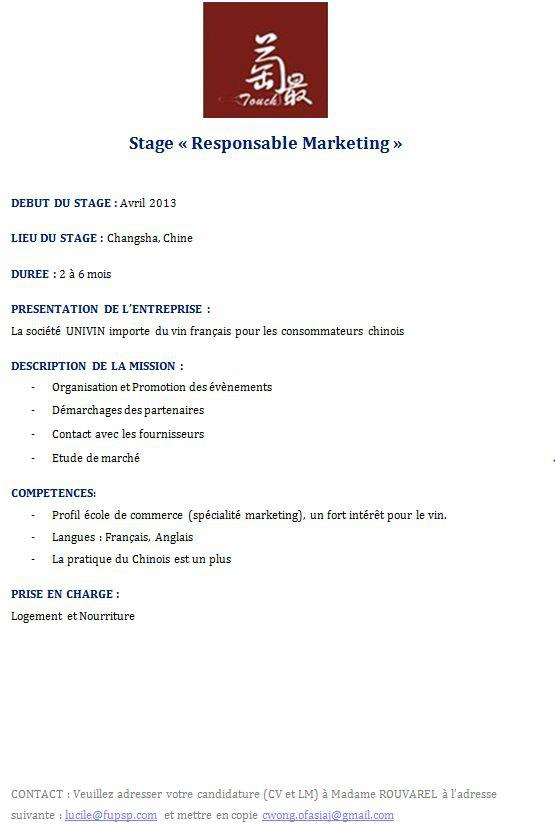 stage  u00ab responsable marketing en chine  pourvu